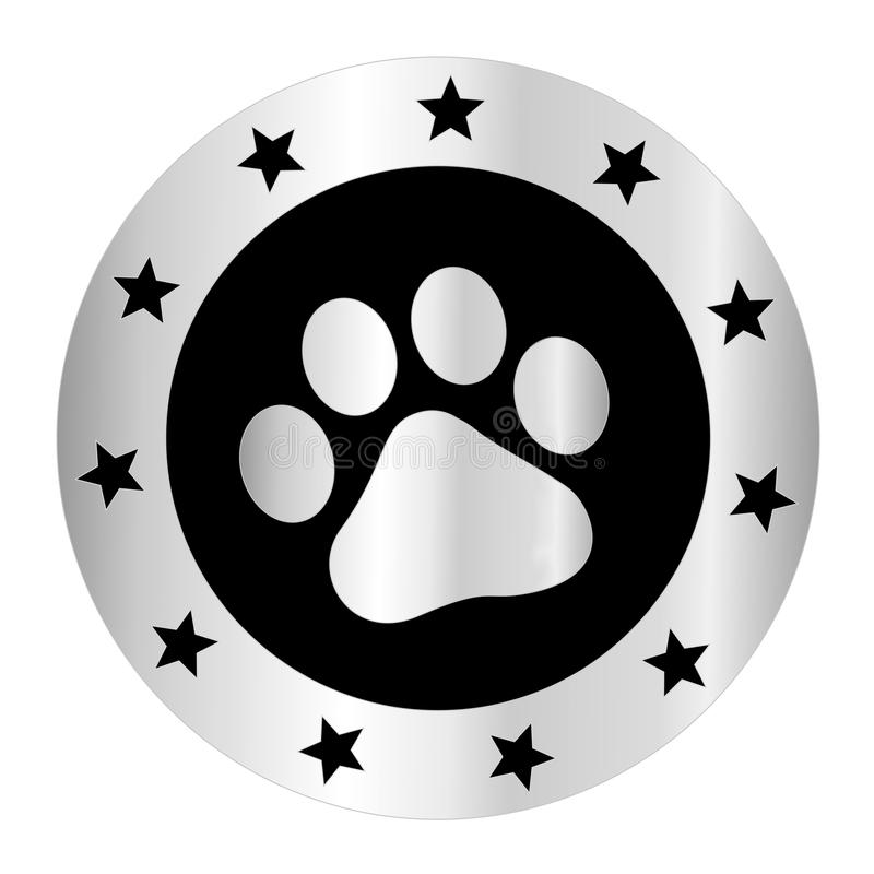 Paw print logo. Cute pets [dogs and cats] paw print silver logo / medal isolated on white background vector illustration