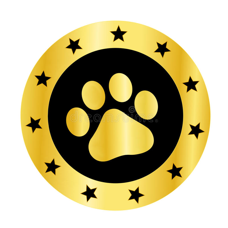 Paw print logo. Cute pets [dogs and cats] paw print golden logo / medal isolated on white background