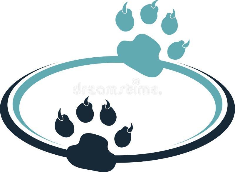 Paw print logo. Illustration art of a paw print logo with background stock illustration