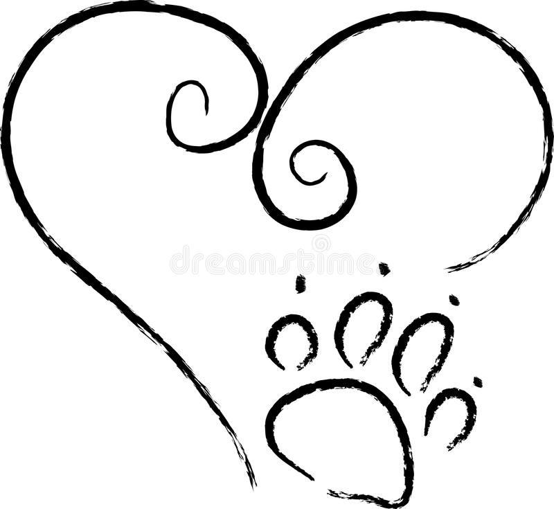 Paw Print Love stock illustration