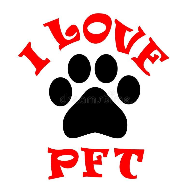 Paw Print Love Vecteur d'image d'actions d'impression de patte J'aime l'illustration de vecteur d'animal familier illustration de vecteur