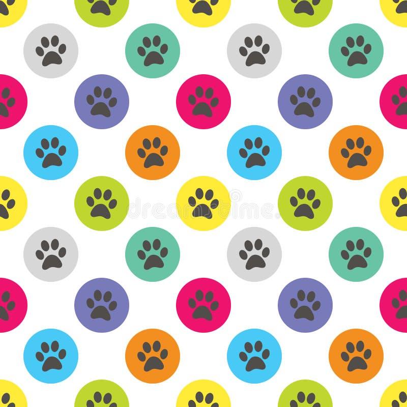 Paw Print nell'illustrazione di Dot Retro Seamless Pattern Vector di Polka del cerchio immagine stock