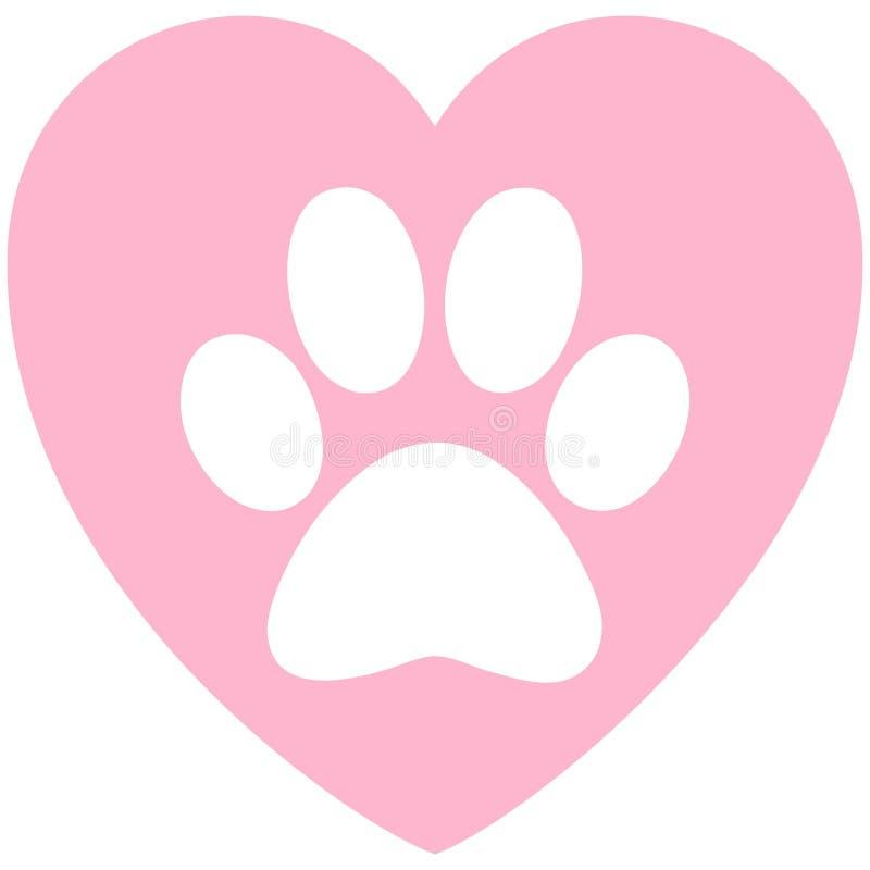 Paw Print Pink Heart vektor abbildung