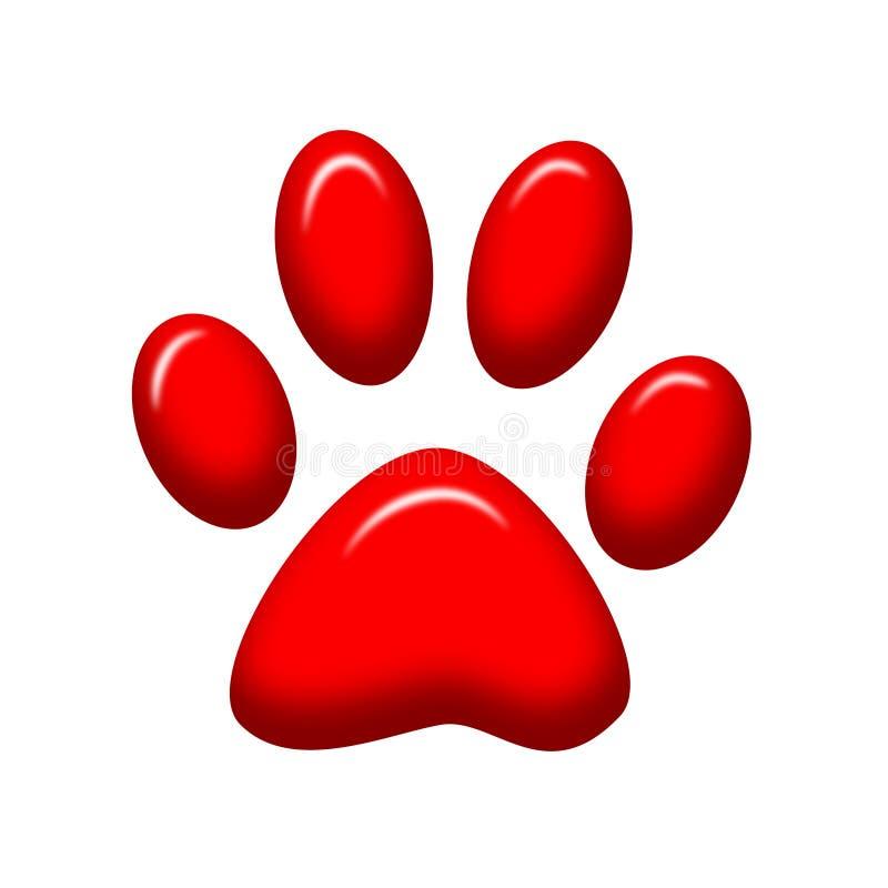 Paw print. Red paw print shiny illustration royalty free illustration