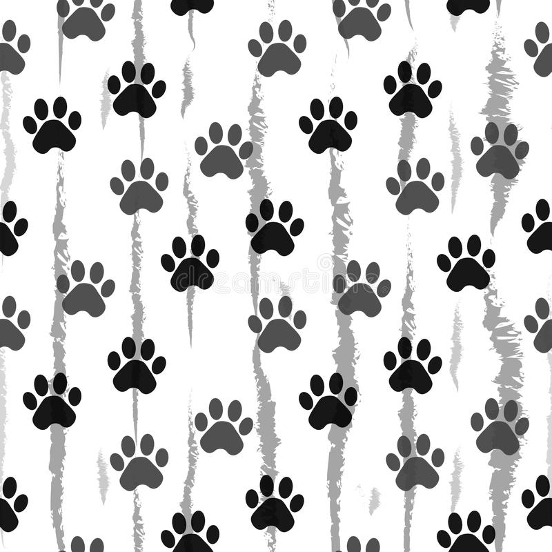 Paw print seamless. Traces of Cat Textile Pattern. Cat footprint seamless pattern. Vector seamless. Eps10 royalty free illustration
