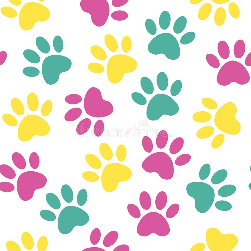 Paw print seamless. Vector illustration animal paw track pattern. backdrop with silhouettes of cat or dog footprint royalty free illustration