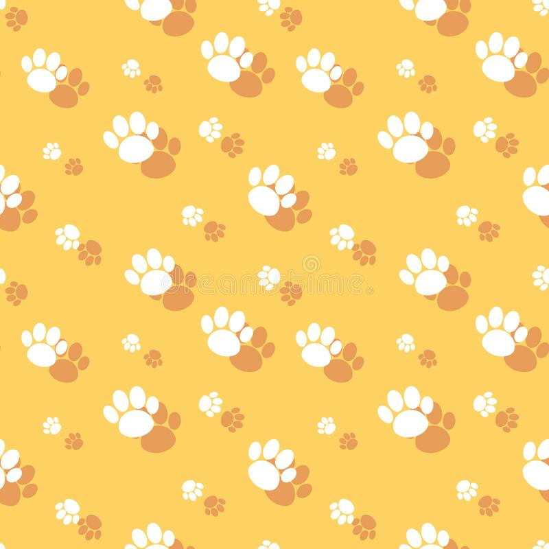 Paw Print Seamless Wildlife Pattern animal stock de ilustración