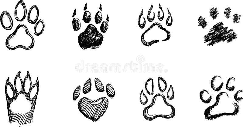 Paw Print Sketch Set royalty free illustration