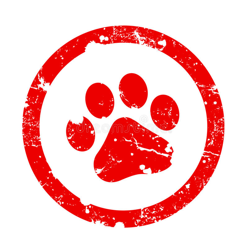 Paw print stamp vector illustration