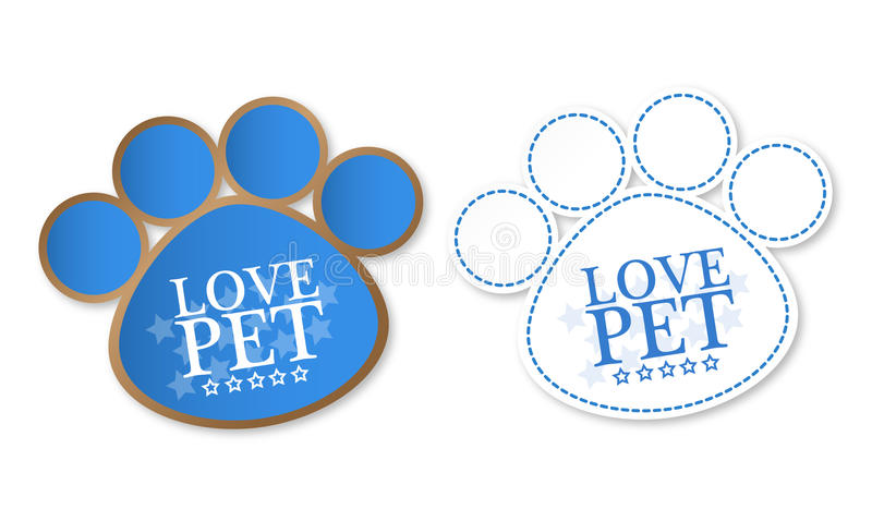 Paw print stickers with text love pet and stars vector illustration