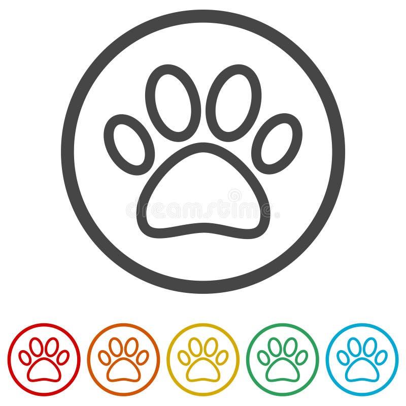 Paw Print Symbol, 6 Farben eingeschlossen lizenzfreie abbildung
