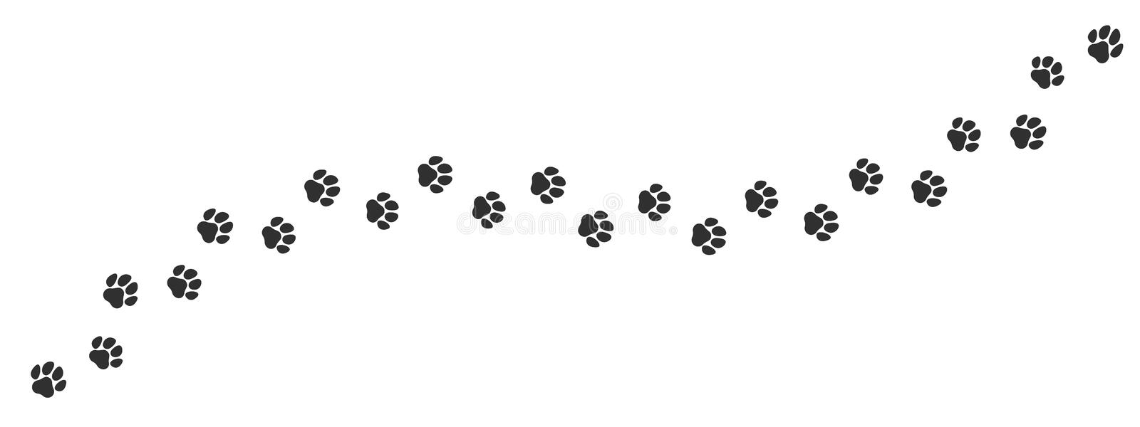 Paw print trail on white background. Vector cat or dog, pawprint walk line path pattern. Background stock illustration