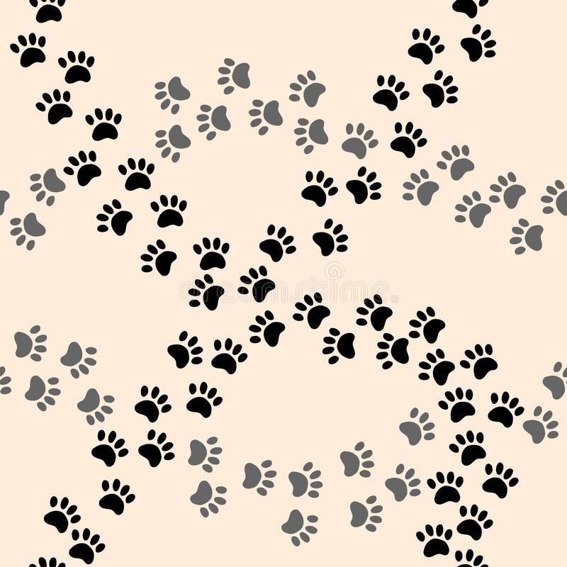 Paw print vector seamless cartoon pattern. Vector print royalty free illustration
