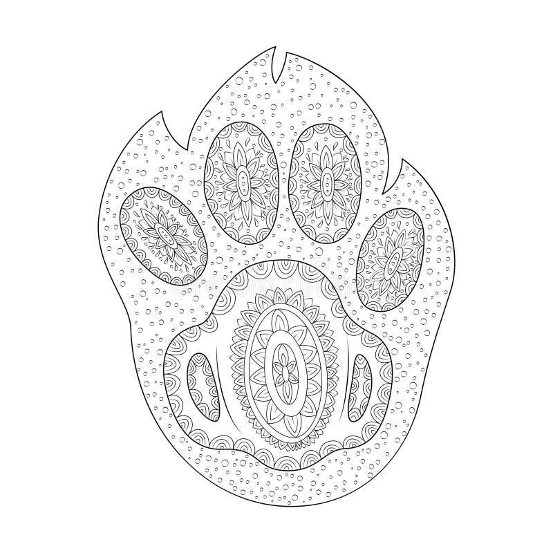 Paw Print vektorillustration Shape av hundfoten Zen Tangle vektor illustrationer