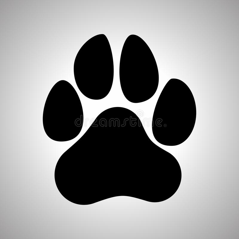 Paw Prints Ícone liso da cópia da pata do cão ou do gato ilustração royalty free