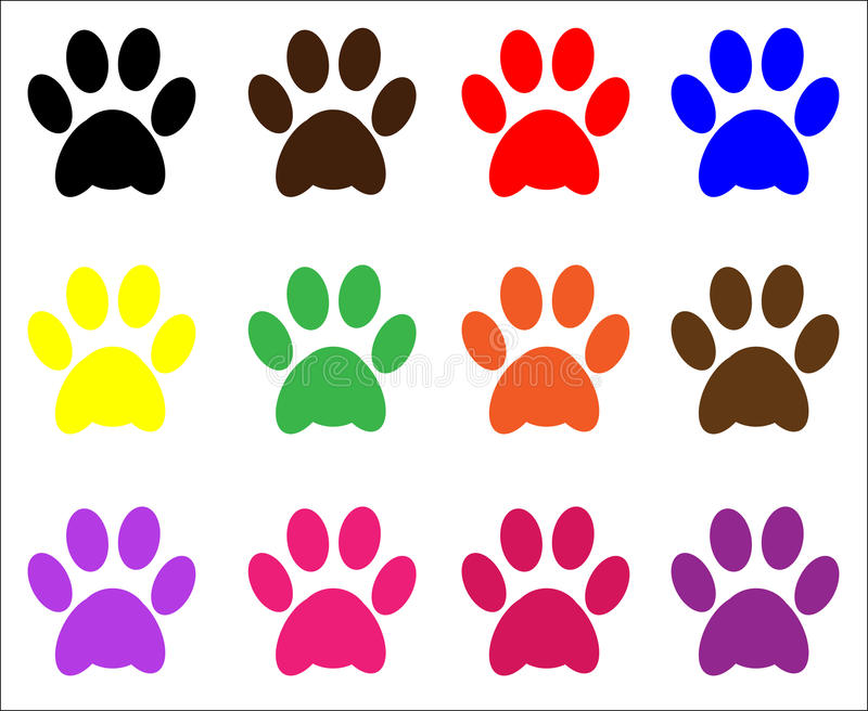 Paw Prints. Animal / pet cat and dog paw print in assorted colors, vector
