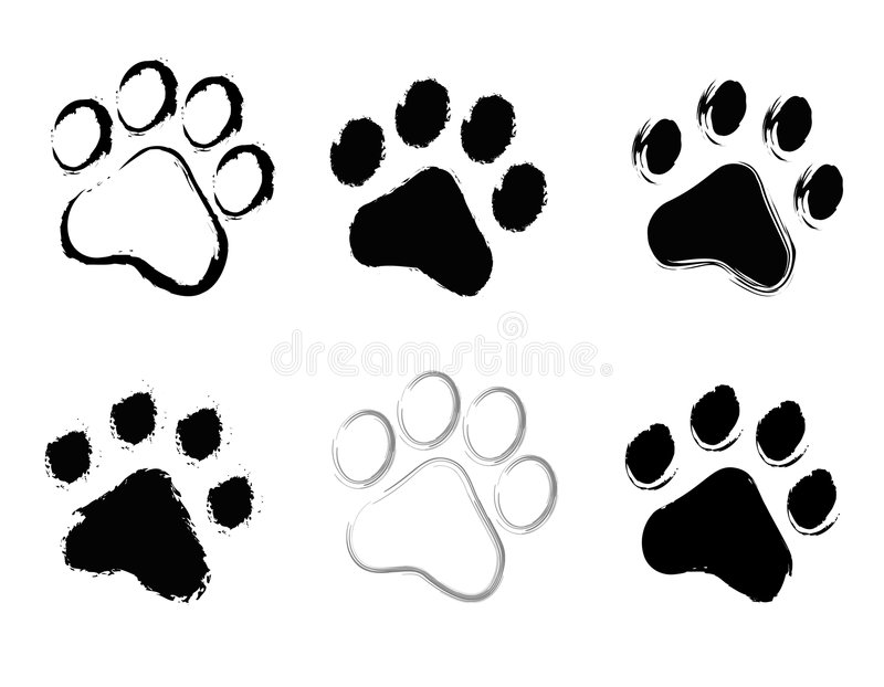 Paw prints. Cute / grunge pets [dogs and cats] paw prints isolated on white background