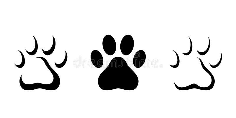 Paw Prints animal Silhuetas pretas do vetor ilustração royalty free