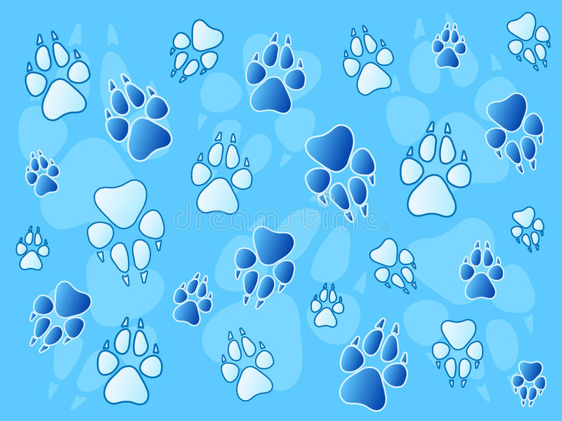 Paw prints background vector illustration
