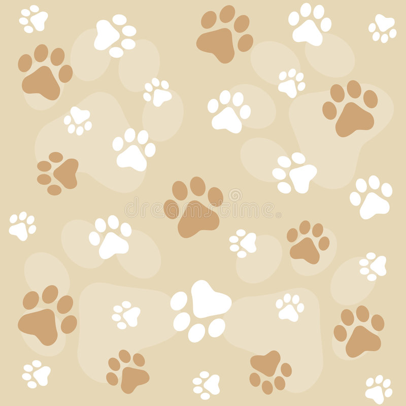 Paw prints background stock illustration