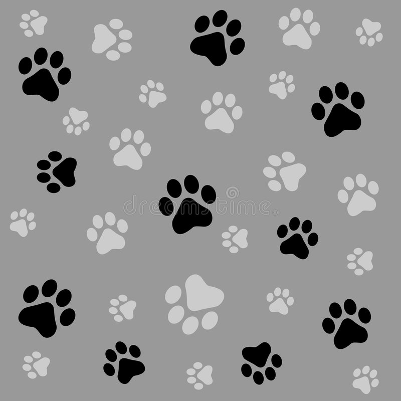 Paw prints background. Animal paw prints seamless background with black and ash paw prints