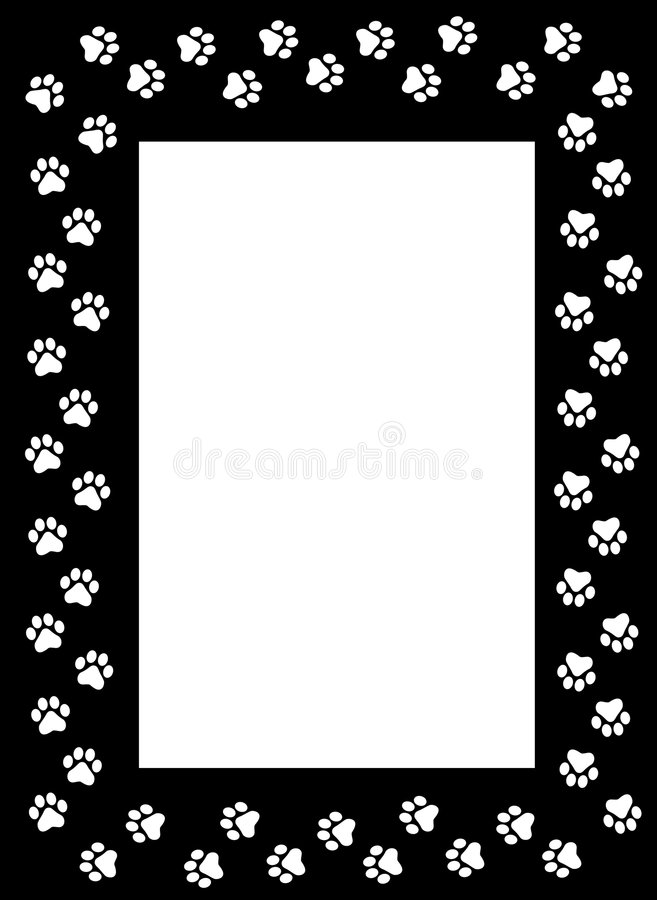 Paw prints border. Cute pets [dogs and cats] paw prints border