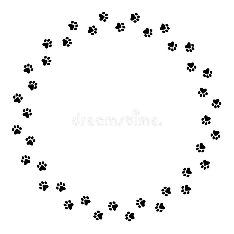 Paw prints border stock illustration