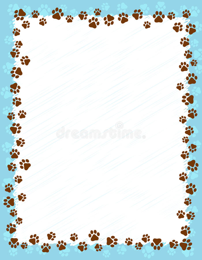Paw prints border. Dog paw prints border / frame on light blue background
