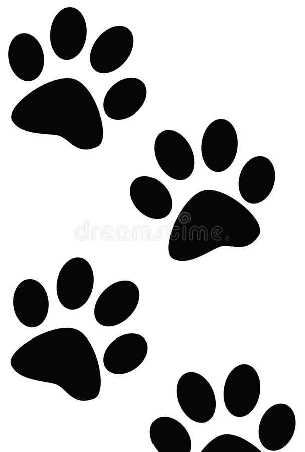 Paw Prints of Dog or Cat. Black Paw Print or Prints of Dog or Cat