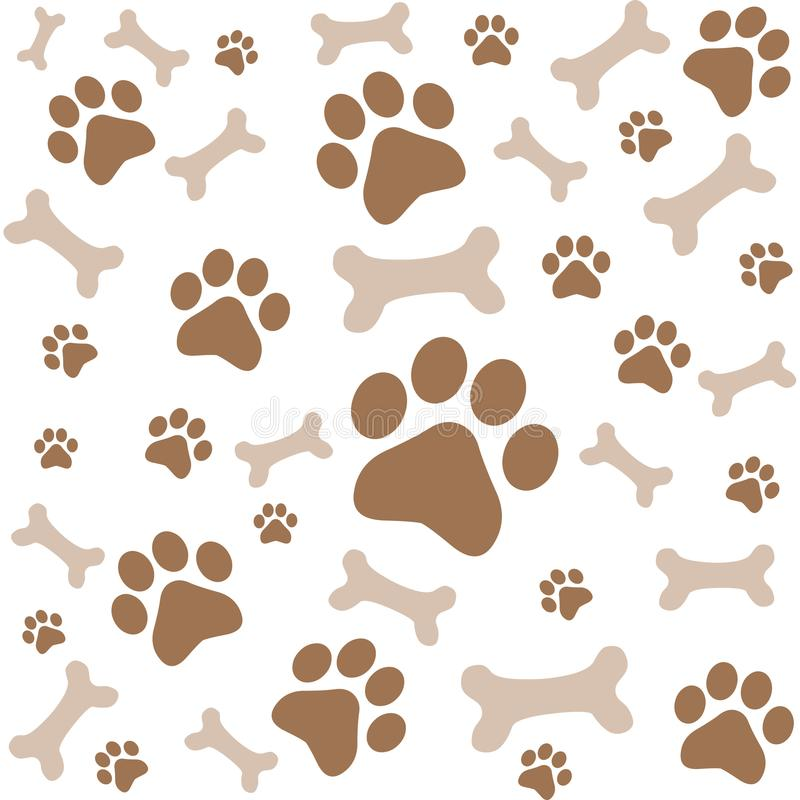 Paw prints. Dog foot print and bones pattern stock illustration