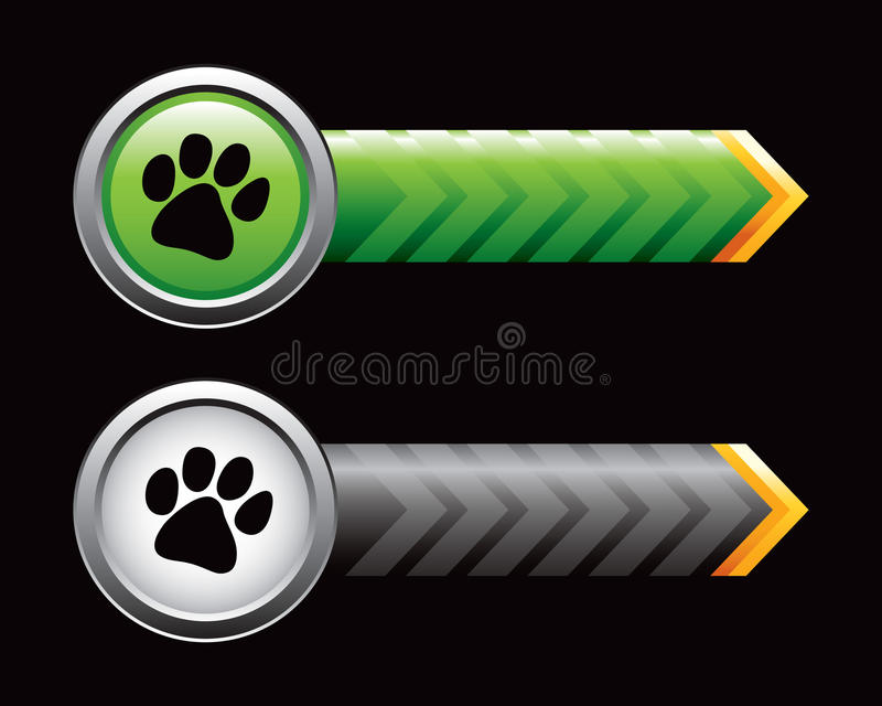 Paw prints on green and black arrows. Paw prints on green and black arrow advertisements stock illustration