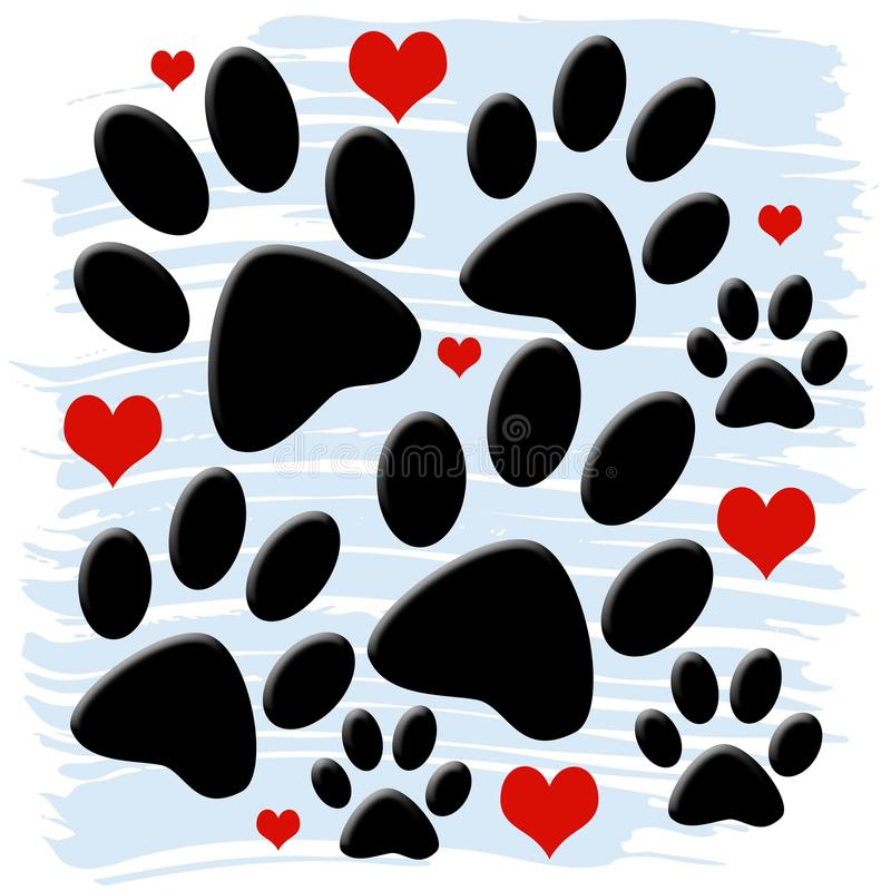 Download Paw Prints and Hearts stock illustration. Image of animal - 34150998