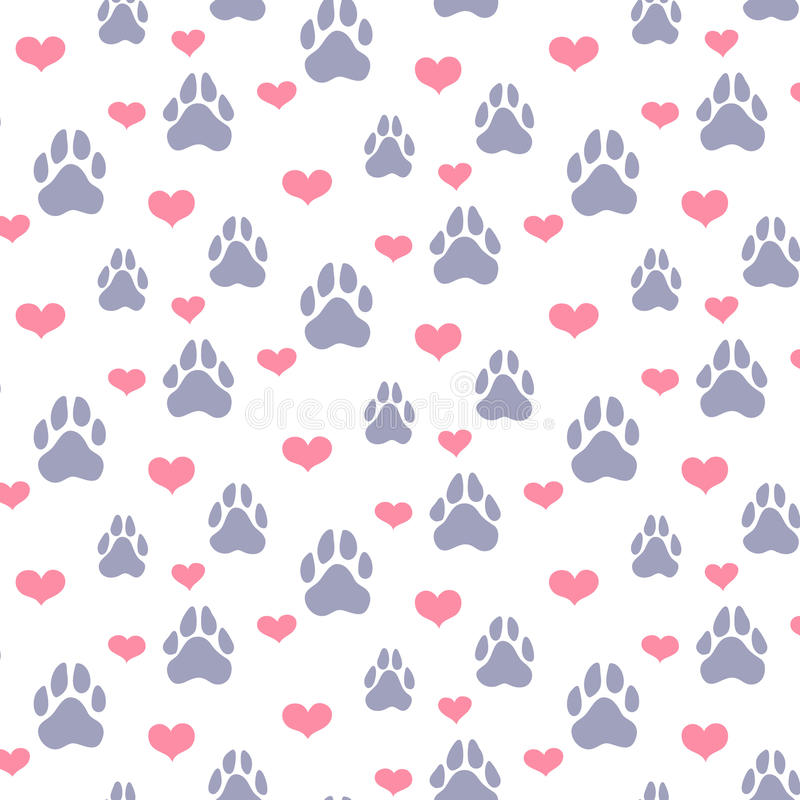 Paw Prints And Hearts Pattern Stock Illustration