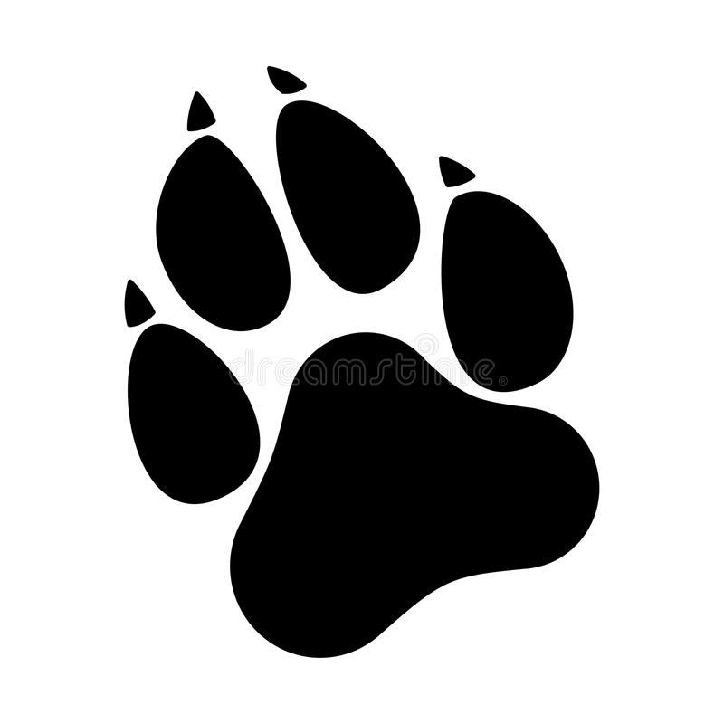 Paw Prints Icona piana della stampa della zampa del gatto o del cane fotografia stock