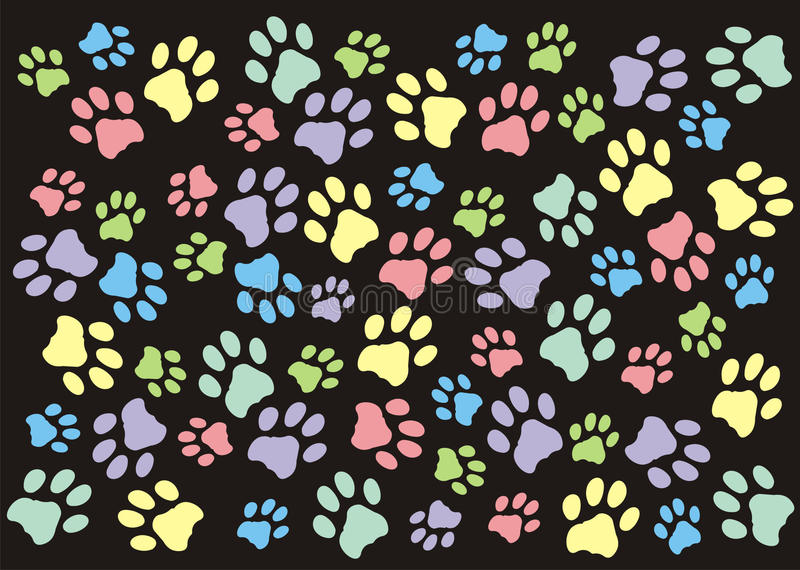 Paw Prints Wallpaper Background en colores pastel libre illustration