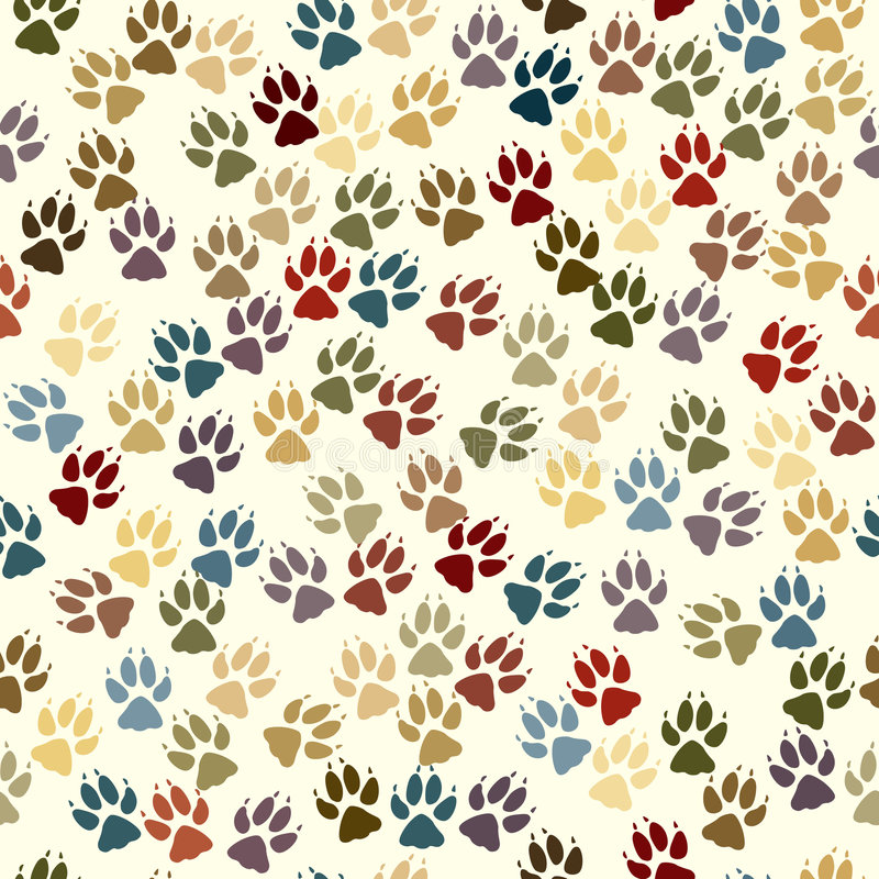 Paw seamless tile. Editable vector seamless tile of dog paw prints royalty free illustration