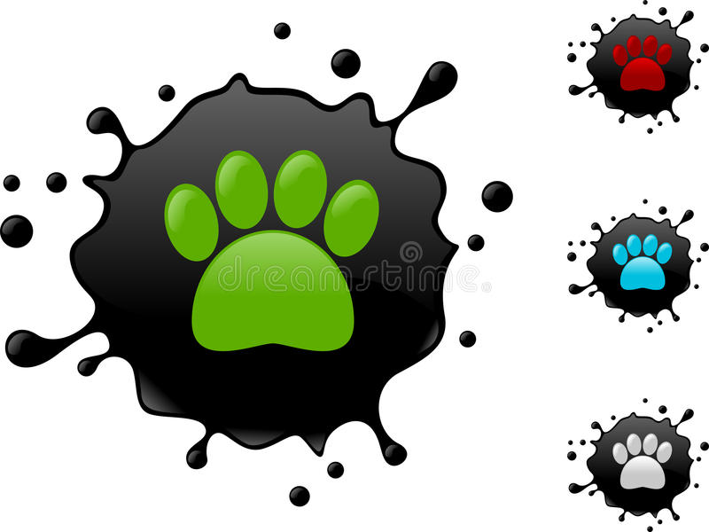 Paw sign in oil stock illustration