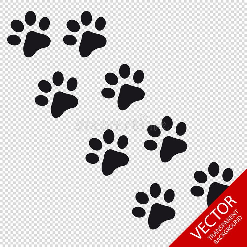 Paw Vector Icons animal - d'isolement sur le fond transparent illustration stock