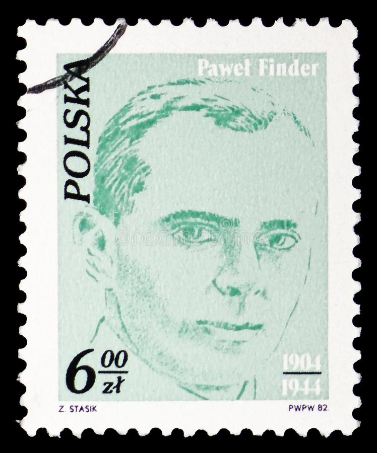 Pawel Finder, Worker`s activists serie, circa 1982. MOSCOW, RUSSIA - FEBRUARY 10, 2019: A stamp printed in Poland shows Pawel Finder, Worker`s activists serie stock photography