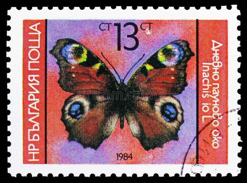 Pawi motyl, motyla seria około 1984, (Inachis io) fotografia royalty free