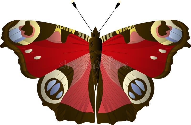 Pawi oko motyli Aglais io, Inachis io, Nymphalidae Błękit, kolor żółty, czerwoni kolory ilustracji