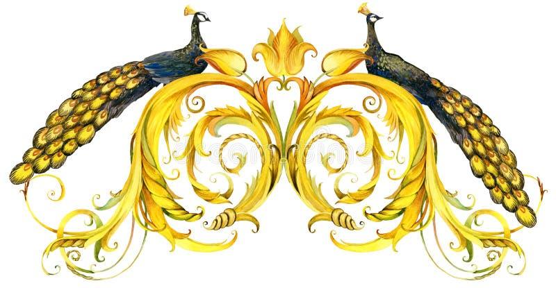Pawia i złota koronki granica rocznik akwareli skarbikowany tło ilustracja wektor