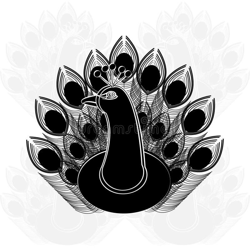 Pawia sylwetka na białym tle ilustracja wektor
