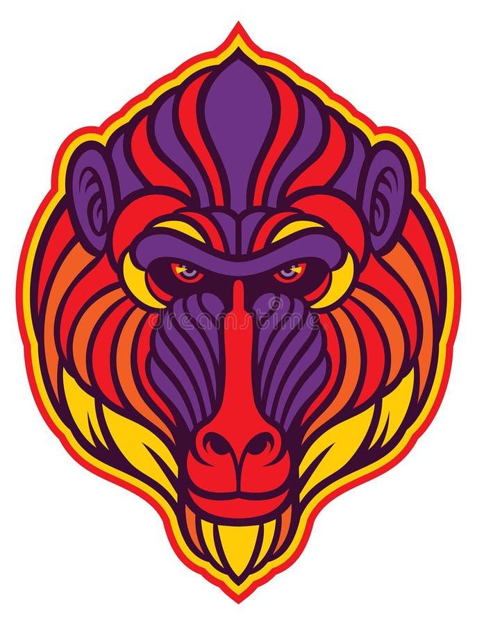 Pawianu mandryla małpa royalty ilustracja