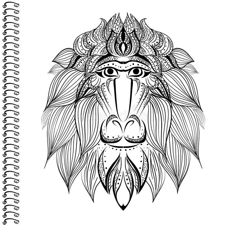 Pawianu wektoru małpiego wzoru wzoru pokrywy notatnika notatnika Etniczny druk ilustracji