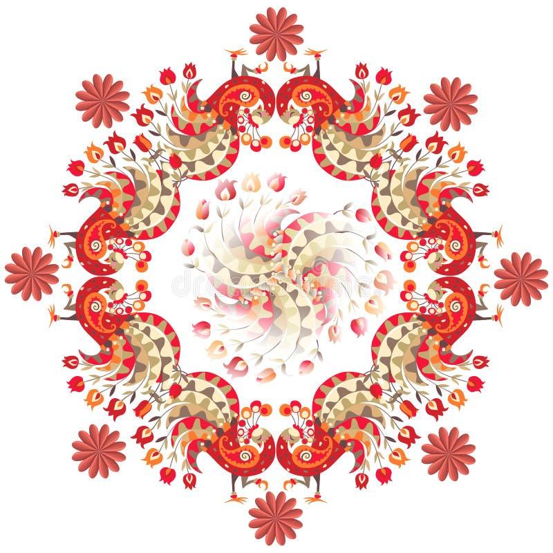 Pawie i kwiaty na białym tle również zwrócić corel ilustracji wektora royalty ilustracja
