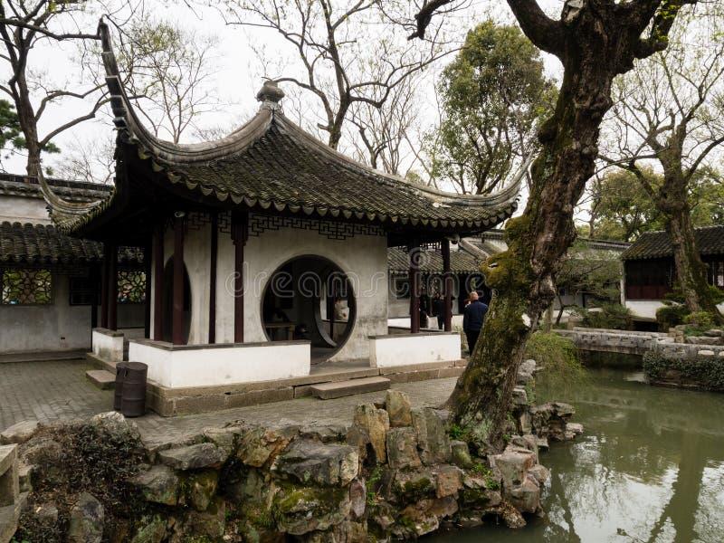 Pawilon w Skromnie administratora ogródzie, jeden sławni klasyczni ogródy Suzhou fotografia royalty free