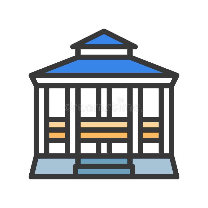 Pawilon wektorowa ikona, wypełniający konturu stylu editable uderzenie royalty ilustracja