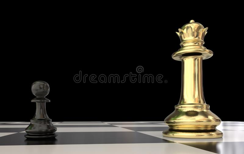 Pawn against golden qween in chess - 3d rendering stock illustration