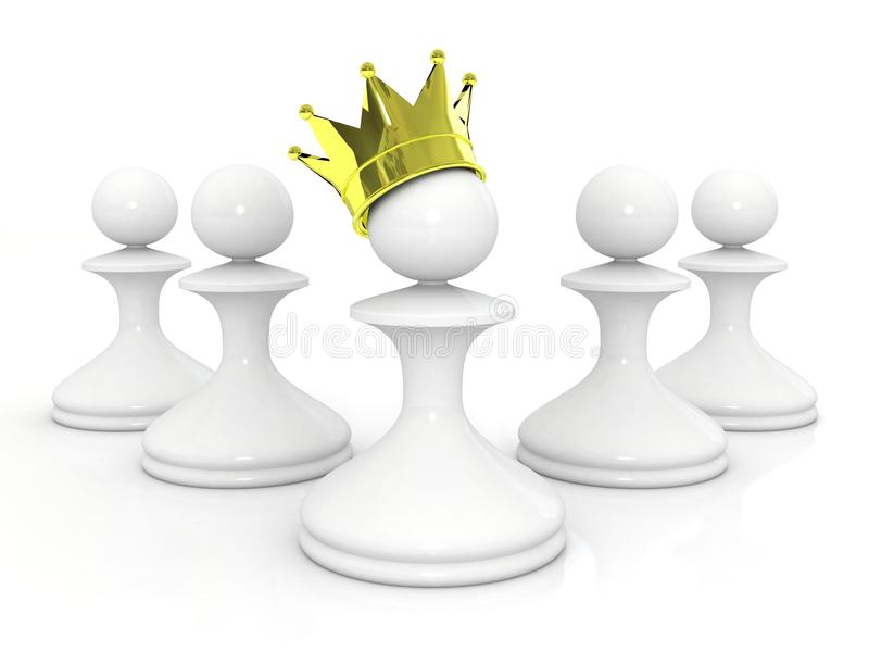 Pawn In A Golden Crown Leadership Concept Royalty Free Stock Photos